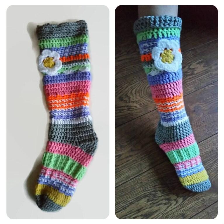 Crochet slipper knee sock slippersock slipper boots