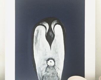 Penguins, Original Ink Art