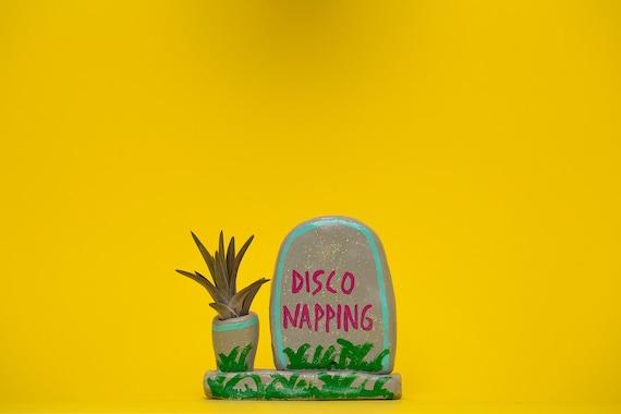 DISCO NAPPING GRAVE / grave stone planter / grave planter / cement planter