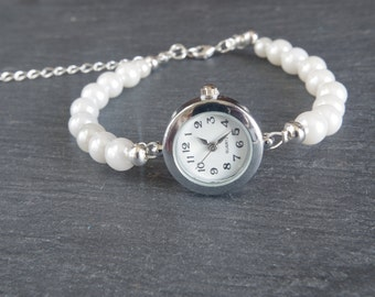 Pearl Bracelet Watch  Pearl Watch Bridal Pearl Bracelet Wedding Jewelry Wedding Bracelet Ivory Pearl Watch Bridesmaid gift for her