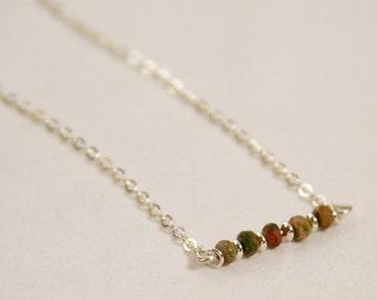 Unakite Jasper Bar Necklace, 925 Sterling Silver, Silver Gemstone Necklace, Silver Bar Necklace, Silver Gemstone Bar Necklace, Gemstone Bar