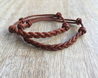 Couples Bracelet, Leather Bracelets, His and her Bracelet, Brown Leather Matching Bracelets LC001130