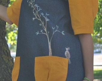 Bird dress, Dress, Dresses, Denim dress, Womens Clothing, Dress, Hand painted