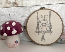 Hand Stitched Girl on Swing - Nursery Decor - Embroidered Hoop - Baby Shower Gift - Girls Room Decor - Baby Girl Nursery - Wall Hanging