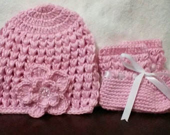 Pink Baby Girl Crochet Hat and booties