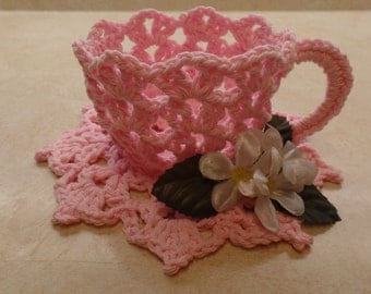 Easy Crochet tea cup pattern DIGITAL DOWNLOAD ONLY