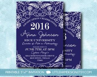 Printable Graduation Floral Class of 2016 Custom School Colors, Navy & White Grad Announcement / Party Invitation [digital file 5x7]