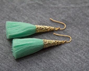 Seafoam Green Tassel Earrings with Gold Plating