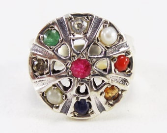 Awesome Navratna  925 Sterling Silver Ring Multi Casajewels R340