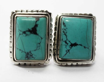 Turquoise Cufflinks 925 Sterling Silver Blue Handmade Mens Jewellery by AmoreIndia C320