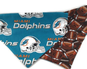 Miami Dolphins Over the Collar Dog Bandana // Dolphins Reversible Dog Bandanna // Miami Dog Scarf // Miami Dolphins Dog Gift // Dolphins Fan