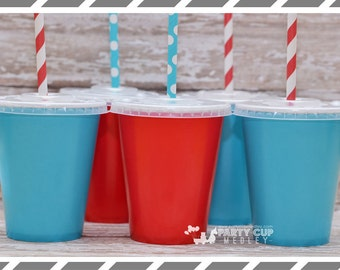 Set of 10 or 12 Thing 1 Birthday Party Cups, Lids & Straws