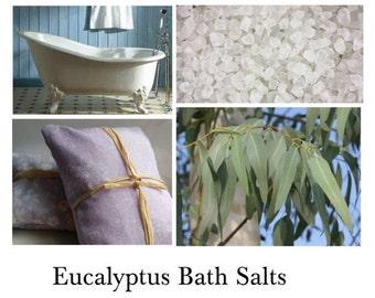 Eucalyptus Bath Salts, Eucalyptus Bath, Eucalyptus Oil Bath, Eucalyptus Bath Soak --- 16oz Bag