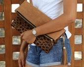 Leopard clutch with tassel, foldover clutch leopard print, fold over leather clutch, leopard calf hair fold over clutch, leopard clutch