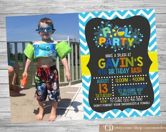 Pool Party Invitation / Chalkboard Pool Party Birthday Invitation/ BOY OR GIRL / Pool Party Invite / Swim Party Invitation