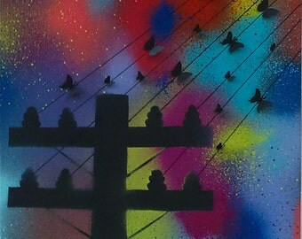 Vibrant 3D telephone pole with butterflies wall art