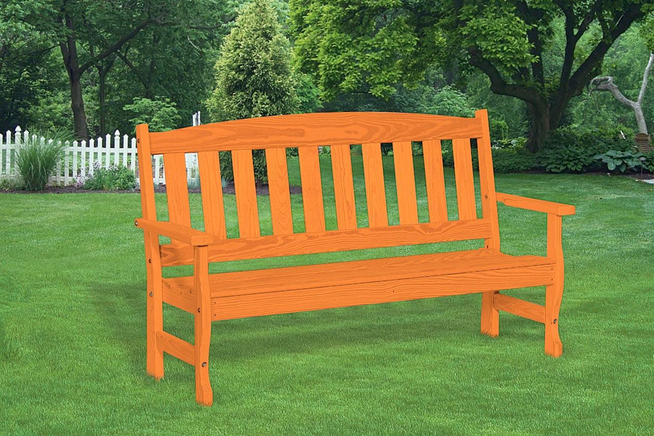 Pine 5 Foot English Garden Porch Outdoor Contour Bench Cedar