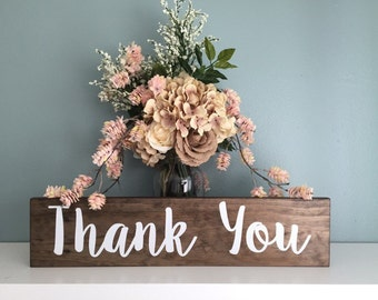 Rustic Wedding Thank You Sign  / Wood Sign Rustic Wedding Decor / Just Married Thank You Sign Country Wedding Photo Prop