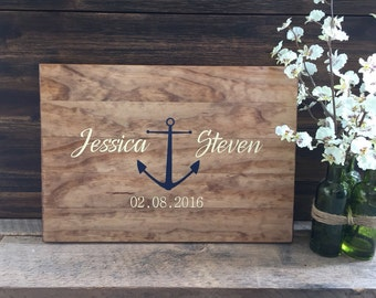 Rustic Wedding Guest Book Alternative /Anchor Nautical Design/ Painted Rustic Wedding Decor Wood Wedding Guest Wood Guest Book Cruise Weddin