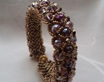 "Bracelet ""Dharma"" Czech crystal and amethyst gold"