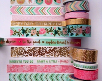 """Washi Tape 18""""-24"""" Sample/ gold foil washi tape / words washi tape/pink and mint washi tape/tea party washi tape/Michael's recollections"""