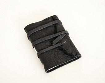 Leather Journal - Dark Black - Leather Wrap - Handbound Blank Book - A7 - 4 x 3 - Italian Ivory Paper