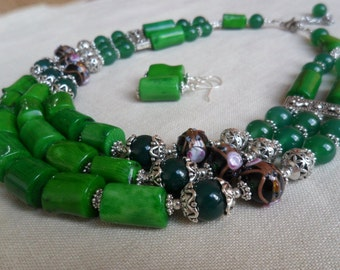 Green coral Necklace with sterling silver earrings.