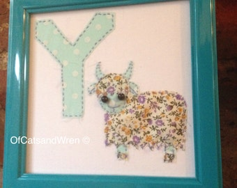 Embroidered Letter/Initial - 'Y is for Yak' - Patchwork Animal Alphabet