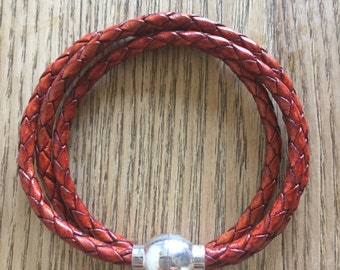 Braided woven leather bracelet, brown leather bracelet, woven leather cuff