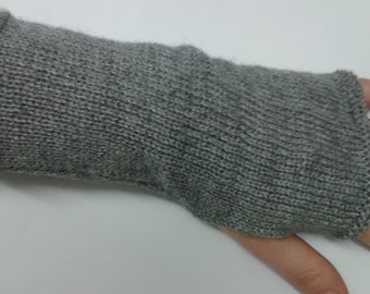 Grey cashmere fingerless gloves - knitwear - handwarmers - cashmere yarn - fingerless mitts - grey fingerless