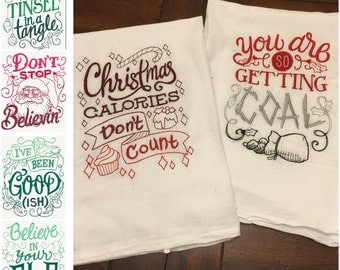 Embroidered Kitchen towels - Christmas