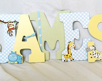 Jungle nursery letters, Letters for nursery boy, wooden letters for nursery, custom letters for boy, boy room letters, baby boy letters
