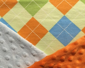 Personalized Minky Baby Blanket Flannel Green Orange and Blue Argyle Minky Baby Blanket