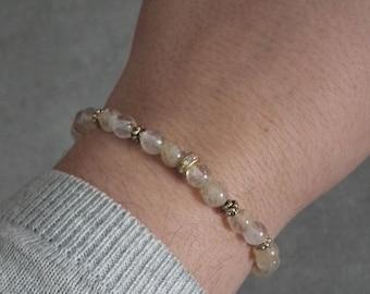 Unique semi-precious stones bracelet beige