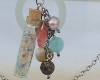 Sea Glass and Sand Bottle Necklace - 01SG35