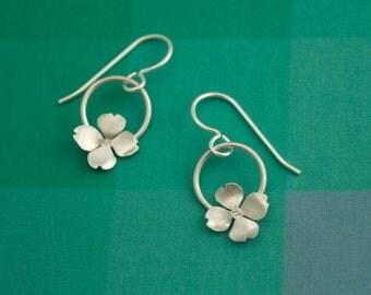 Dogwood Flower Silver Earrings