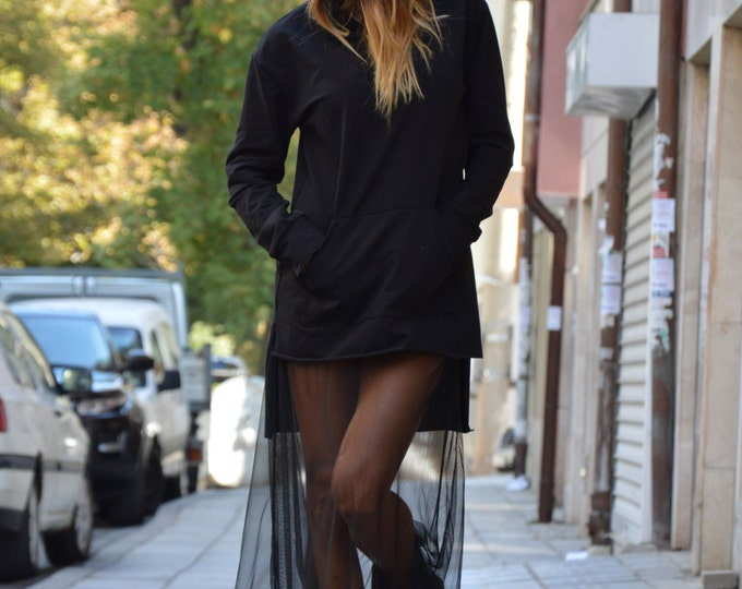 Black Cotton Sweatshirt, Sexy Hooded Tunic, Asymmetric Front Pocket Top, Extravagant Tulle Sport Tunic By SSDfashion