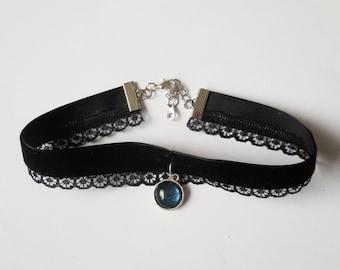 Black lace velvet choker crystal pendant handmade