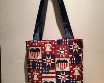 Fourth of July handmade shoulder bag with wristlet
