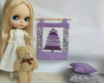 BLYTHE PILLOW SET wall quilt For doll. 2 pillows and quilt small violet polka dot Extra cushion  Pullip violet