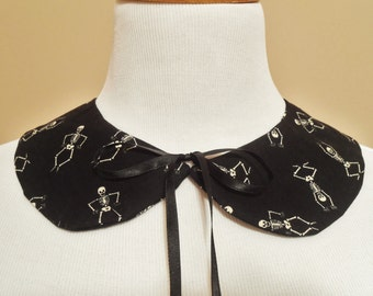 Skeleton Peter Pan Detachable Collar, Black Dancing Skeletons Faux Collar, Removable Vintage Style Collar