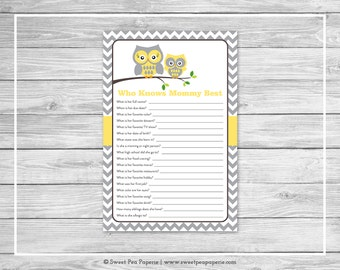 Owl Baby Shower Who Knows Mommy Best Game - Printable Baby Shower Who Knows Mommy Best Game - Yellow Owl Baby Shower - Mommy Game - SP133