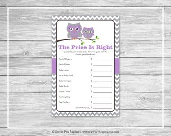 Owl Baby Shower Price Is Right Game - Printable Baby Shower Price Is Right Game - Purple Owl Baby Shower - Price Is Right Game - SP136