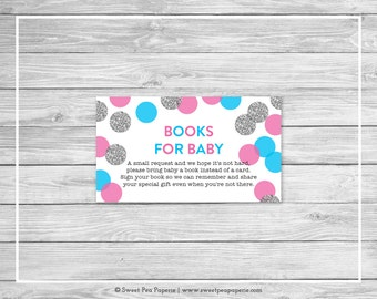 Pink and Blue Gender Reveal Book Instead of Card Insert - Printable Gender Reveal Books for Baby - Pink Blue Silver Gender Reveal - SP113