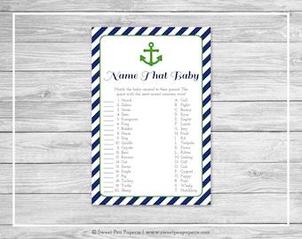Nautical Baby Shower Name That Baby Game - Printable Baby Shower Name That Baby Game - Navy Green Baby Shower - Name That Baby Game - SP120