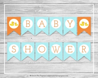 Rubber Ducky Baby Shower Banner - Printable Baby Shower Banner - Rubber Duck Baby Shower - Baby Shower Banner - EDITABLE - SP122