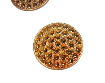 2 Pieces Framex Round Finding with Settings, Raw Brass, Vintage, 28mm Round