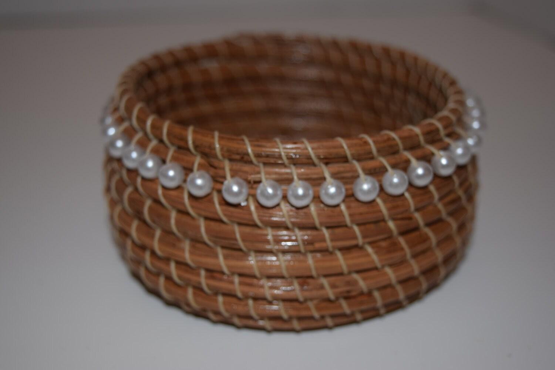 Handmade Pine Needle Baskets : Pearl stripe pine needle basket center handmade