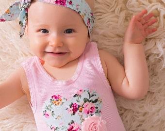 Vintage baby girl singlet.Pink heart baby girl singlet.Embellished baby girl singlet.Embellised singlet.Cake smash . Sizes 000, 00, 0 ,1, 2