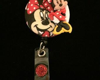 Minney Mouse-Nurse Retractable ID Badge Reel/ RN Badge Holder/Doctor Badge Reel/Nurse Badge Holder/Name Badge/Nurse Gift